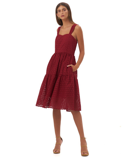 MAGDALENA DRESS IN MAROON