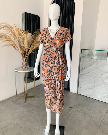 CANAVES DRESS IN FLORAL ROSE NAVY