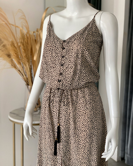 HIRA DRESS IN GINGER ROOT DOT