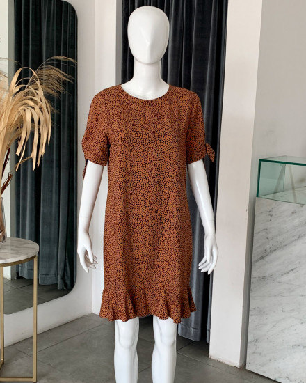SUNA DRESS IN TERRACOTTA DOT