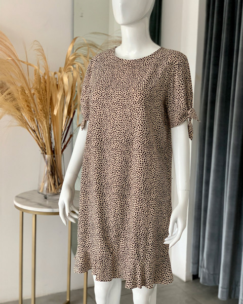 SUNA DRESS IN GINGER ROOT DOT