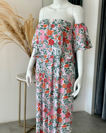 DILARA JUMPSUIT IN FLORAL ROSE MANDARIN