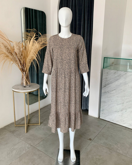 NERMIN DRESS IN GINGER ROOT DOT