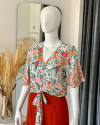 PALIA TOP IN FLORAL ROSE MANDARIN