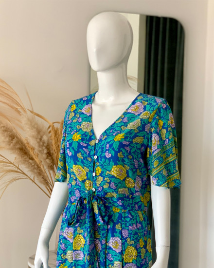 PALIA TOP IN FLORAL ROSE BLUE