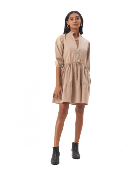 Mona Dress in Linen Rose Brown