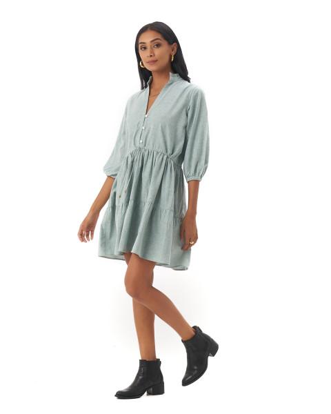 Mona Dress in Linen Seafoam Green