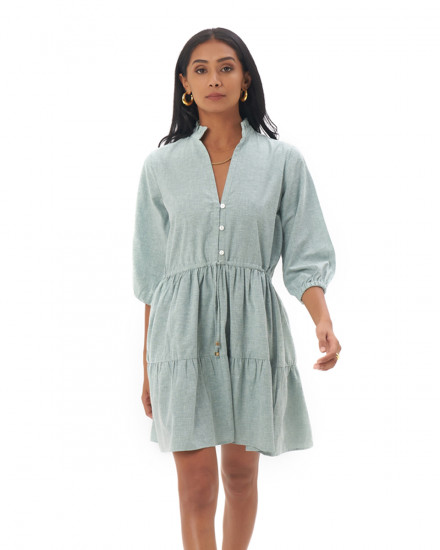 Mona Dress in Linen Seafoam Green