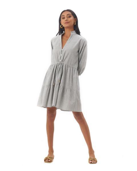 Mona Dress in Linen Stripes Green/Grey