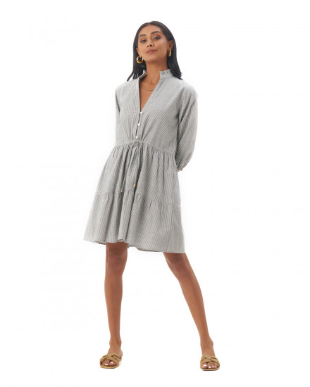 Mona Dress in Linen Stripes Green/Grey