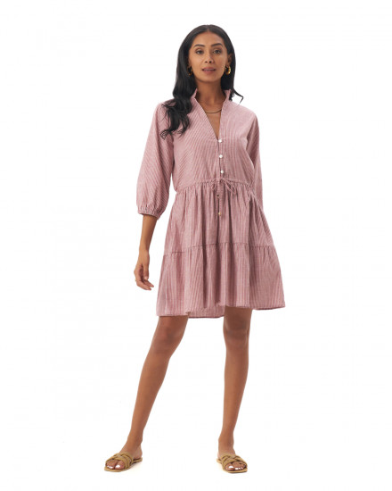 Mona Dress in Linen Stripes Maroon