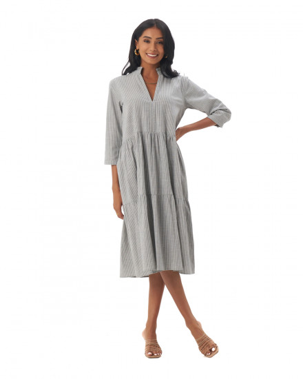 Shona Dress in Linen Stripes Green/Grey