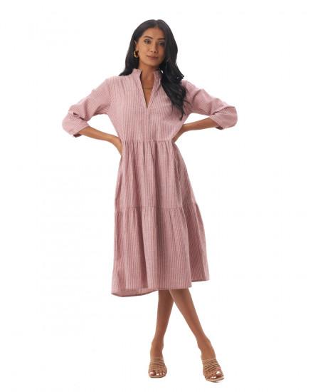 Shona Dress in Linen Stripes Maroon