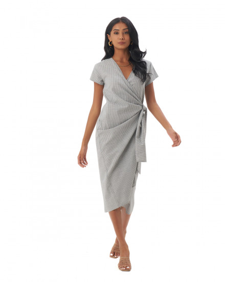 Defne Dress in Linen Stripes Green/Grey