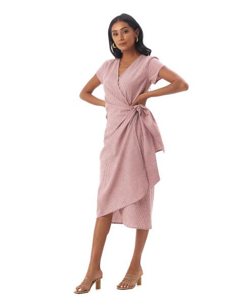 Defne Dress in Linen Stripes Maroon