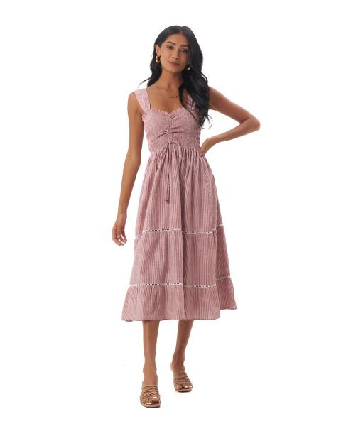 Magnolia Dress in Linen Stripes Maroon