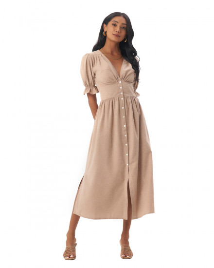 Dahlia Dress in Linen Rose Brown