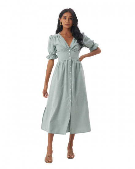 Dahlia Dress in Linen Seafoam Green