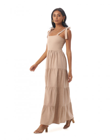Colette Dress in Linen Rose Brown