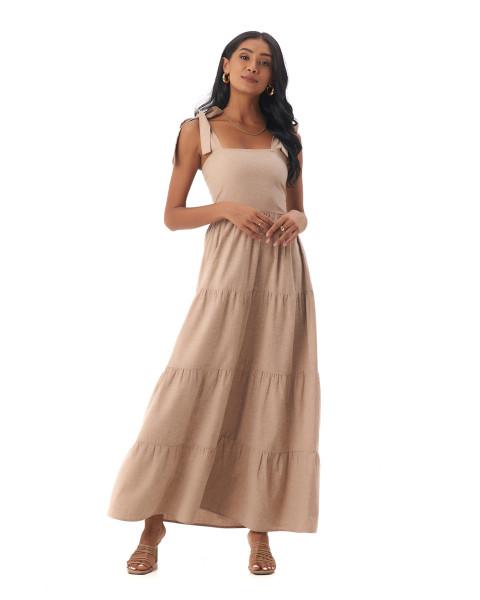 Colette Dress in Linen Rose Brown