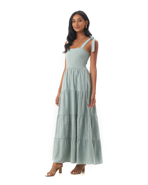 Colette Dress in Linen Seafoam Green