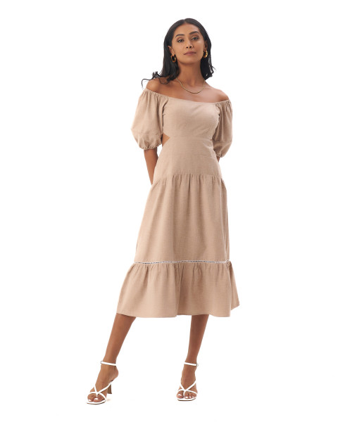 Embry Dress in Linen Rose Brown