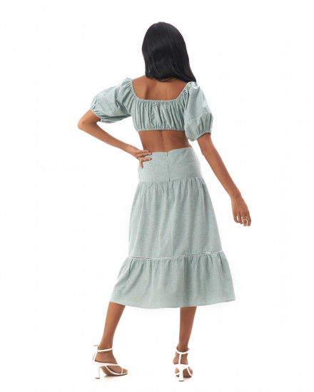 Embry Dress in Linen Seafoam Green