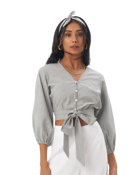 Charlie top in Linen stripes green/grey