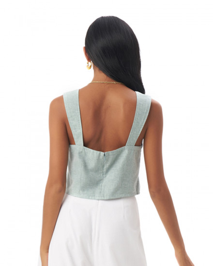 Faye Top in Linen Seafoam Green