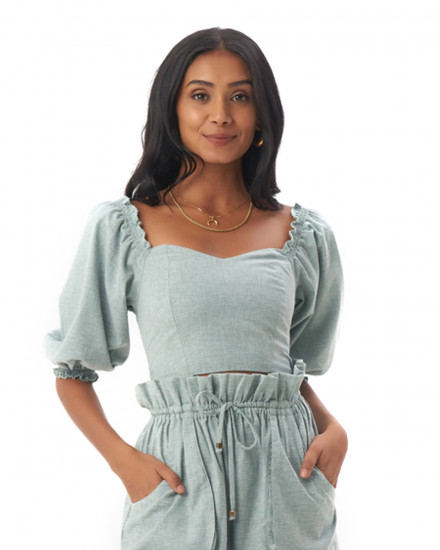 Adley Top in Linen Seafoam Green