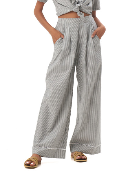 Tiana Pants in Linen Stripes Green/Grey