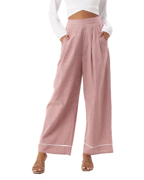 Tiana Pants in Linen Stripes Maroon