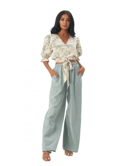 Nova Pants in Linen Seafoam Green
