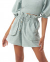 Zuri Shorts in Linen Seafoam Green