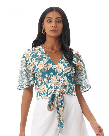 PALIA TOP IN Samira Turquoise