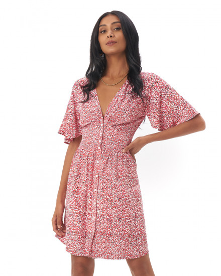 Shiloh Dress in Amba Floral Red