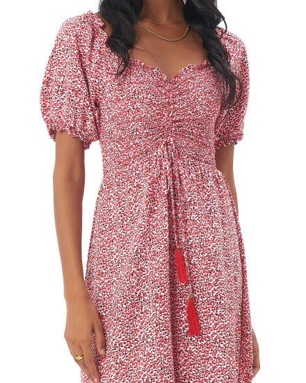 Annika Dress in Amba Floral Red