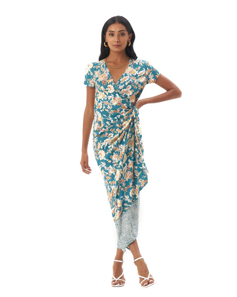 CANAVES DRESS IN Samira Turquoise