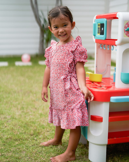 Amina Dress in Amba Floral Red