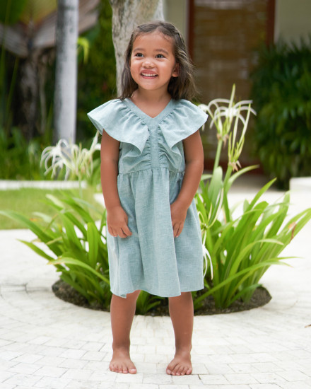 Lilou Dress in Linen Seafoam Green