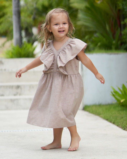 Lilou Dress in Linen Rose Brown