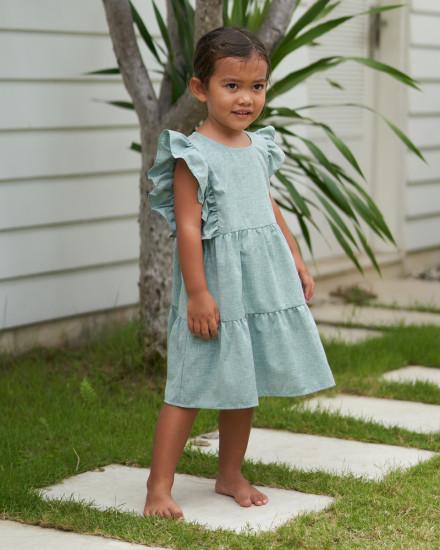 Anais Dress in Linen Seafoam Green