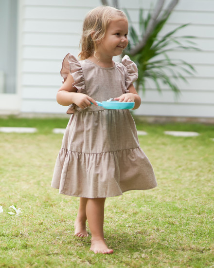 Anais Dress in Linen Rose Brown