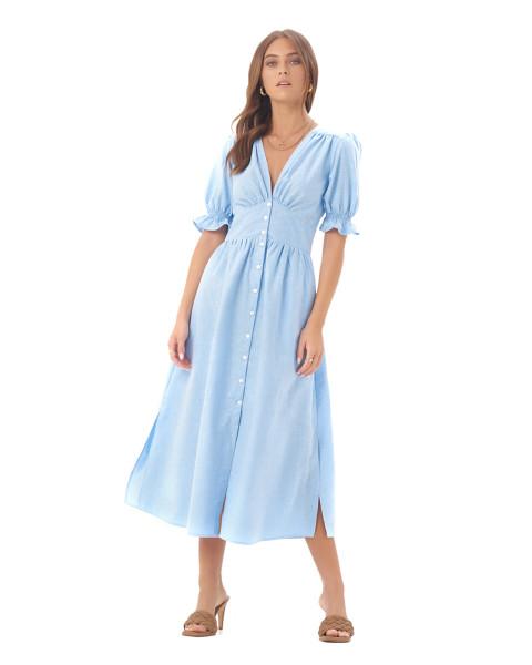 DAHLIA DRESS IN LINEN SKY BLUE