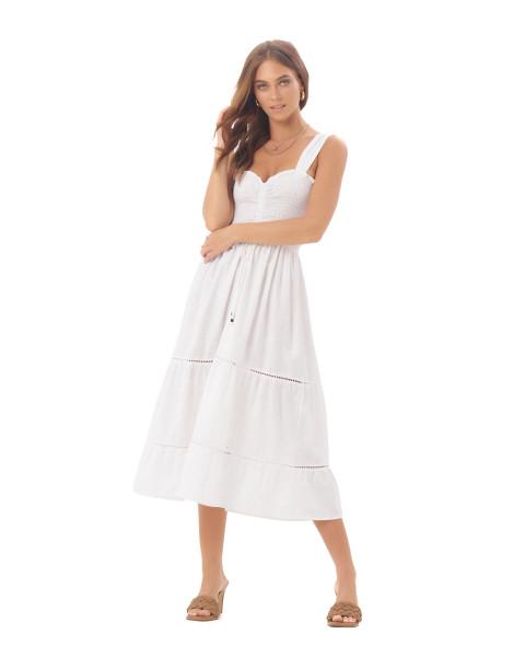 Magnolia Dress in Linen Splatter White