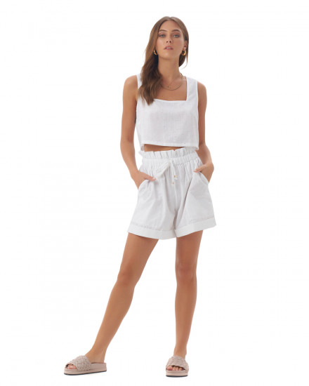 Edita Top in Linen Splatter White