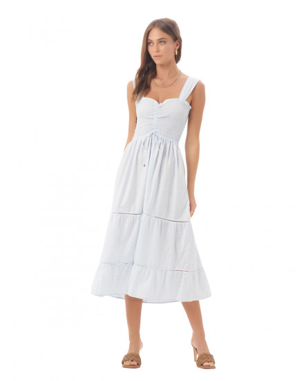 Magnolia Dress in Linen Splatter Powder Blue
