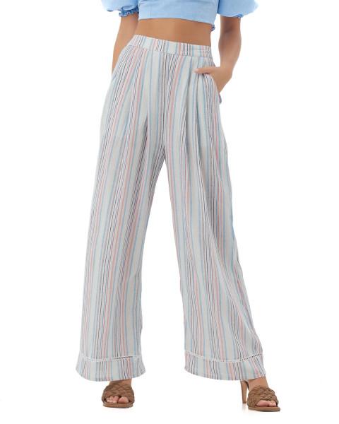 Tiana Pants in Linen Rainbow Stripes
