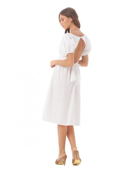 Osanna Dress in Linen Splatter White
