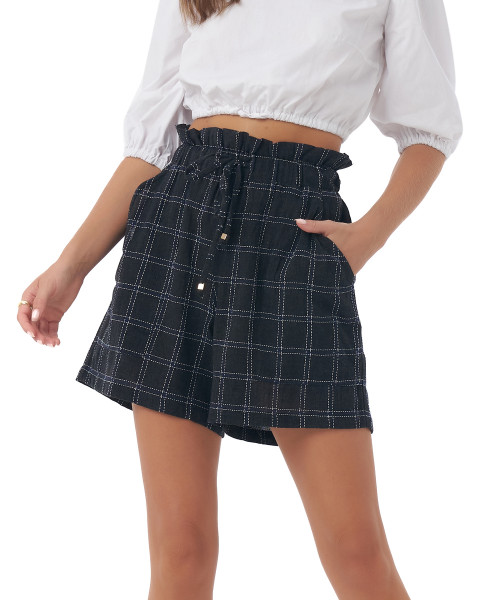 Sedona Shorts in Linen Square Navy/Black